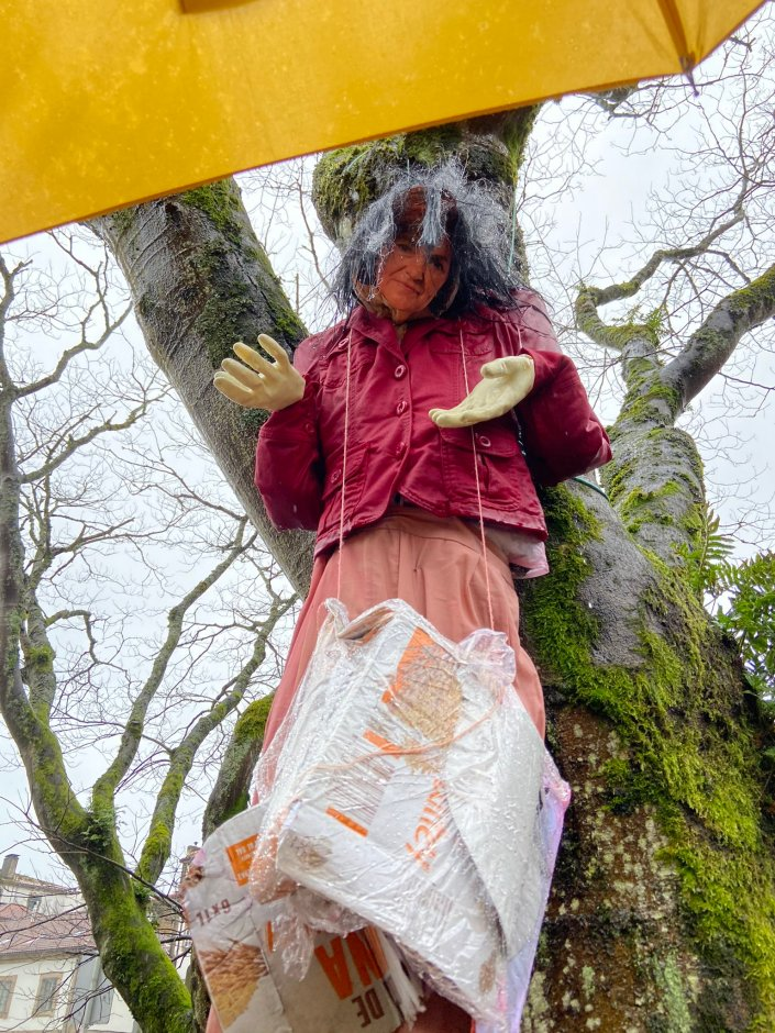 An effigy of Carmen Calvo, the Deputy Prime Minister of Spain, hangs from a tree