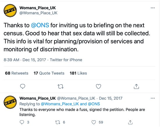 WPUK tweet sex and the census