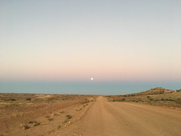 The Moon Rising over Coober Pedy