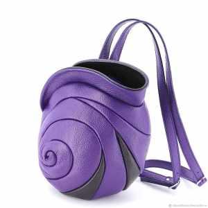 Leather Backpacks Designer. Escargot Purple by Diana Ulanova. Buy on women-bags.com