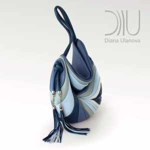 Designer Shoulder Bag. Feather Blue/Purple by Diana Ulanova. Buy on women-bags.com