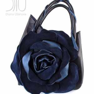 Women Designer Bag. Rose Classic Black/Blue Metallic by Diana Ulanova. Buy on women-bags.com