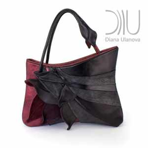 Women Designer Handbag. Feathers Black/Red by Diana Ulanova. Buy on women-bags.com
