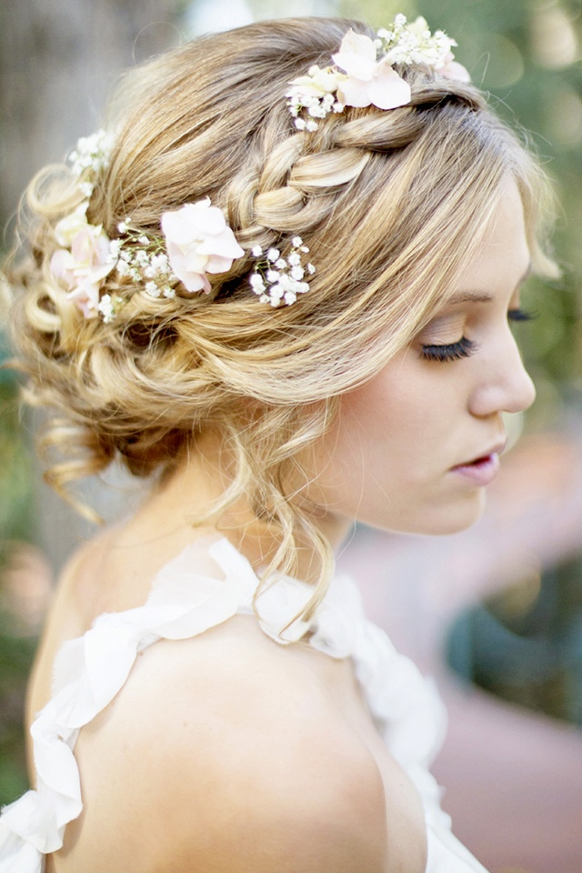 Braided Crown Hairstyle For Wedding Day With Flowers And