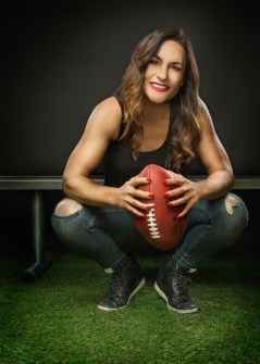 Picture of Dr. Jen Welter, the first female to coach in the NFL.