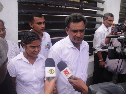 Chamila's parents outside the Negombo high courts