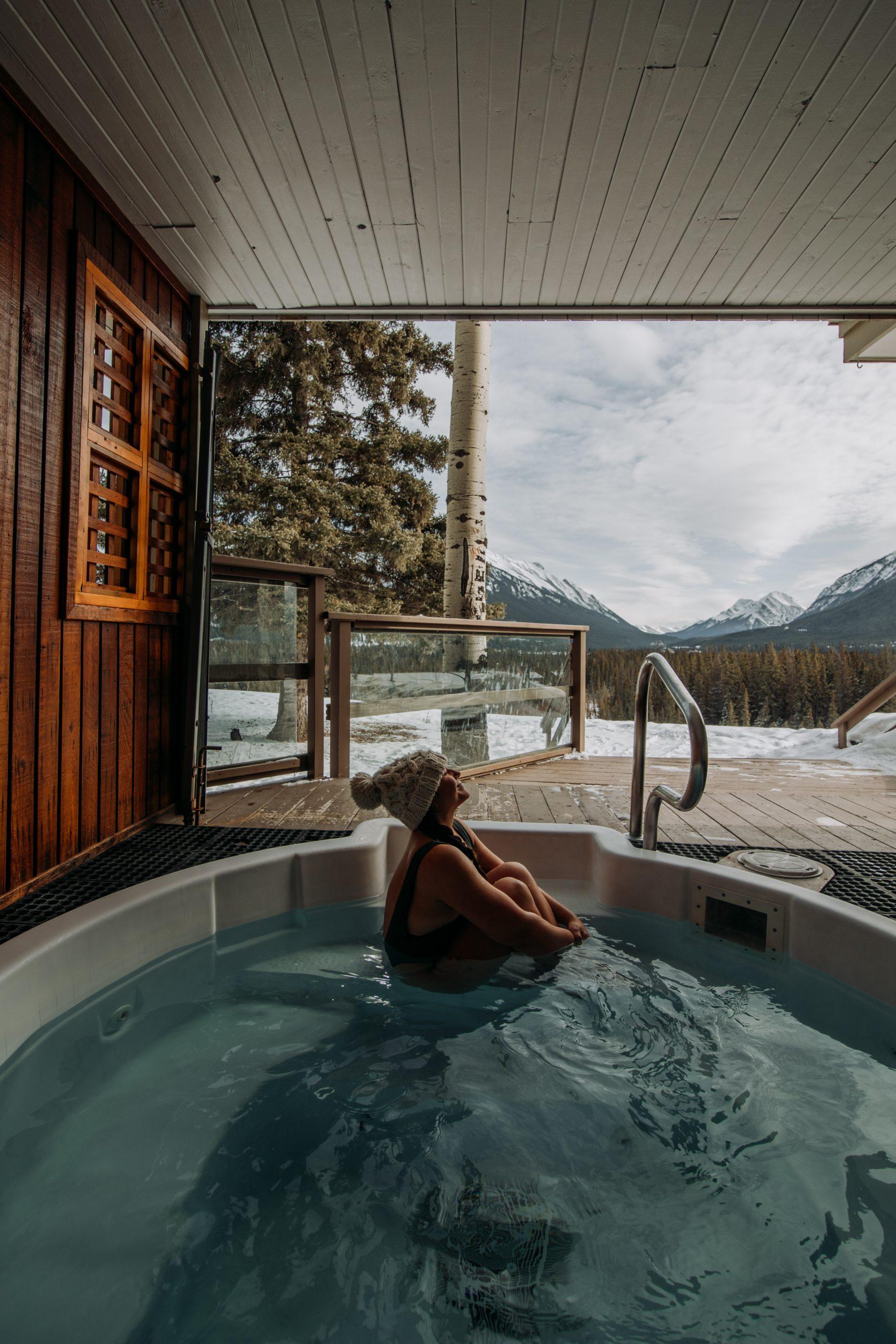 Girl in the hot tub in Banff, Canada
