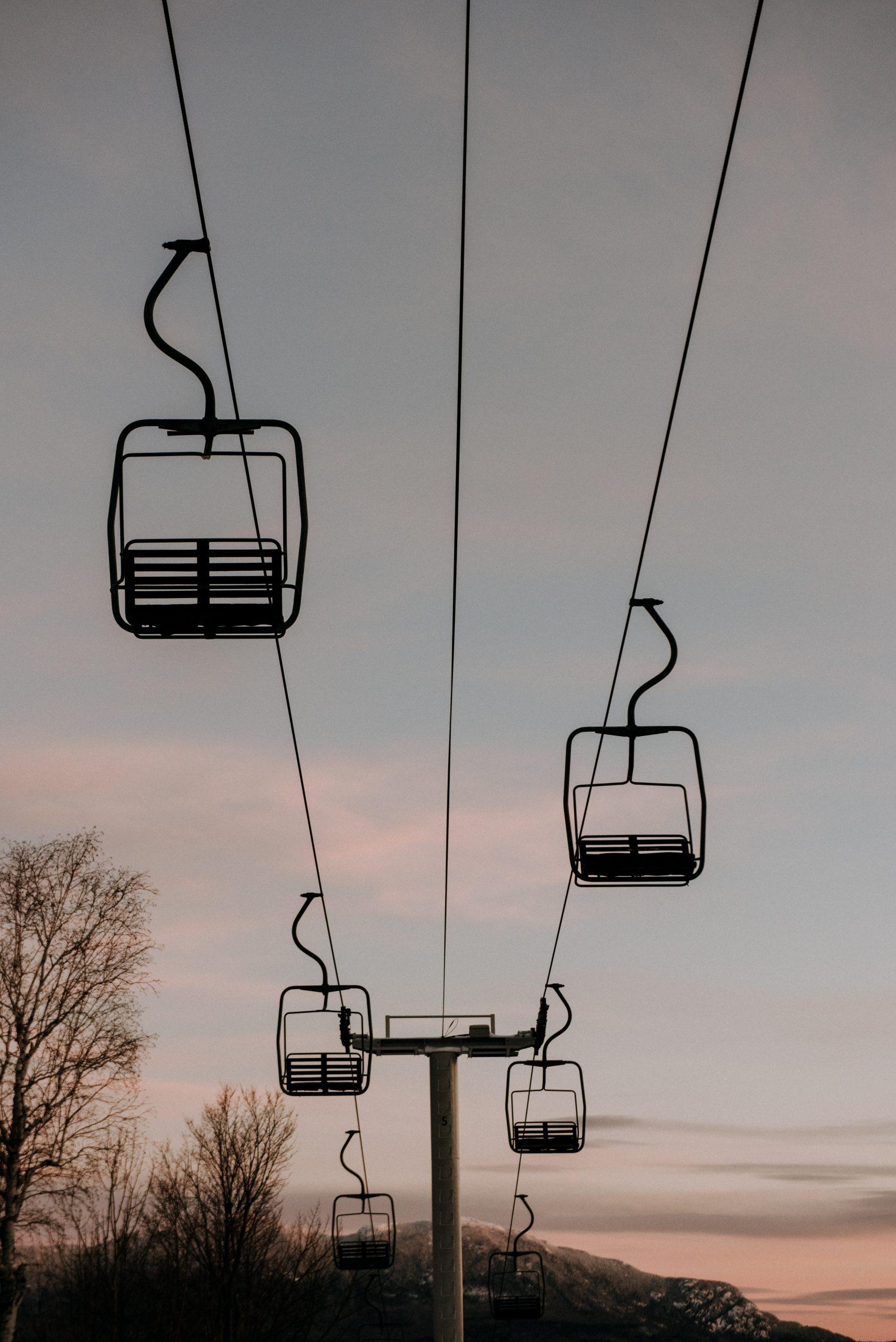 Ski lifts at sunrise