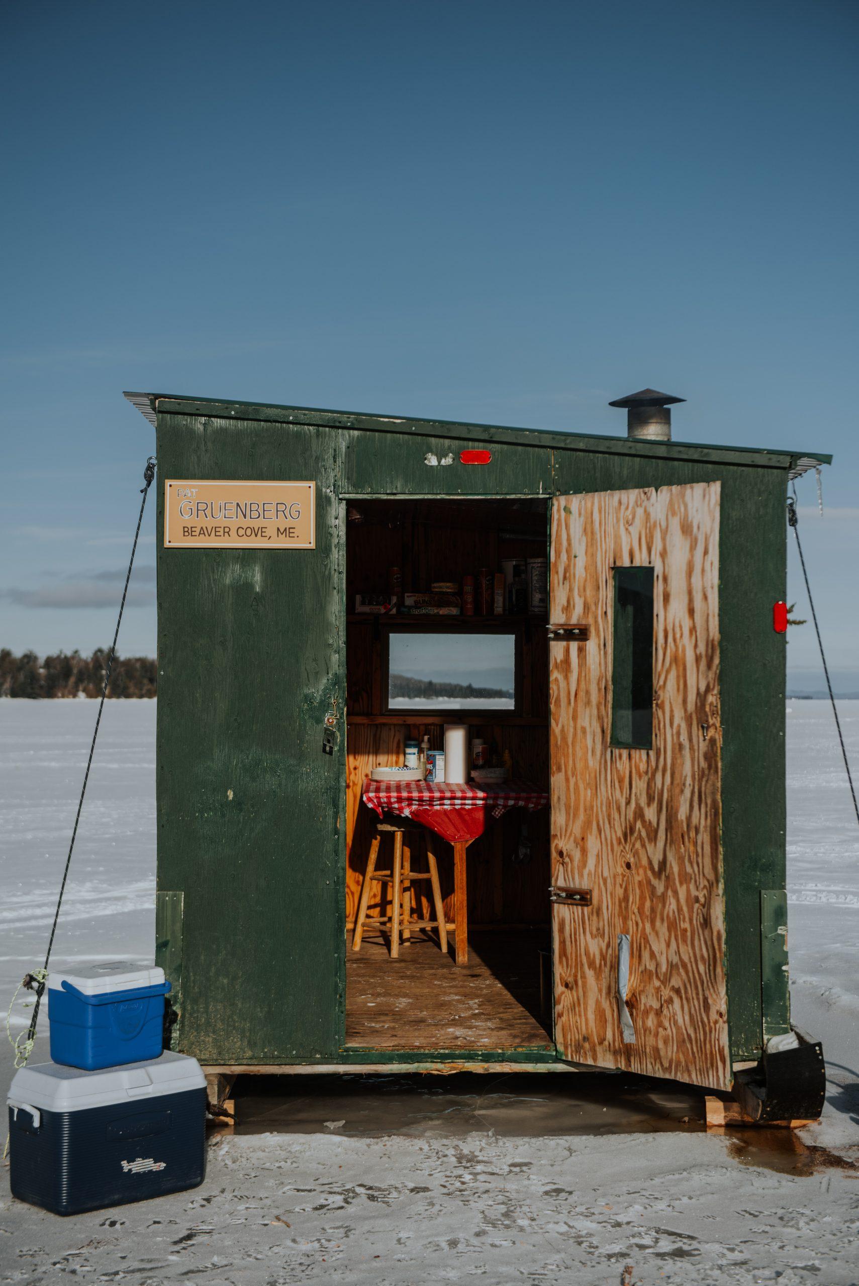 Ice Fishing hut on Moosehead Lake in Maine