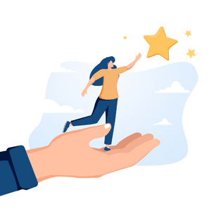 An illustration of a woman reaching for several stars in the sky. She stands in the hand of another person. All we see of the other person is their hand and shirt sleeve. They are in front of a blue background.