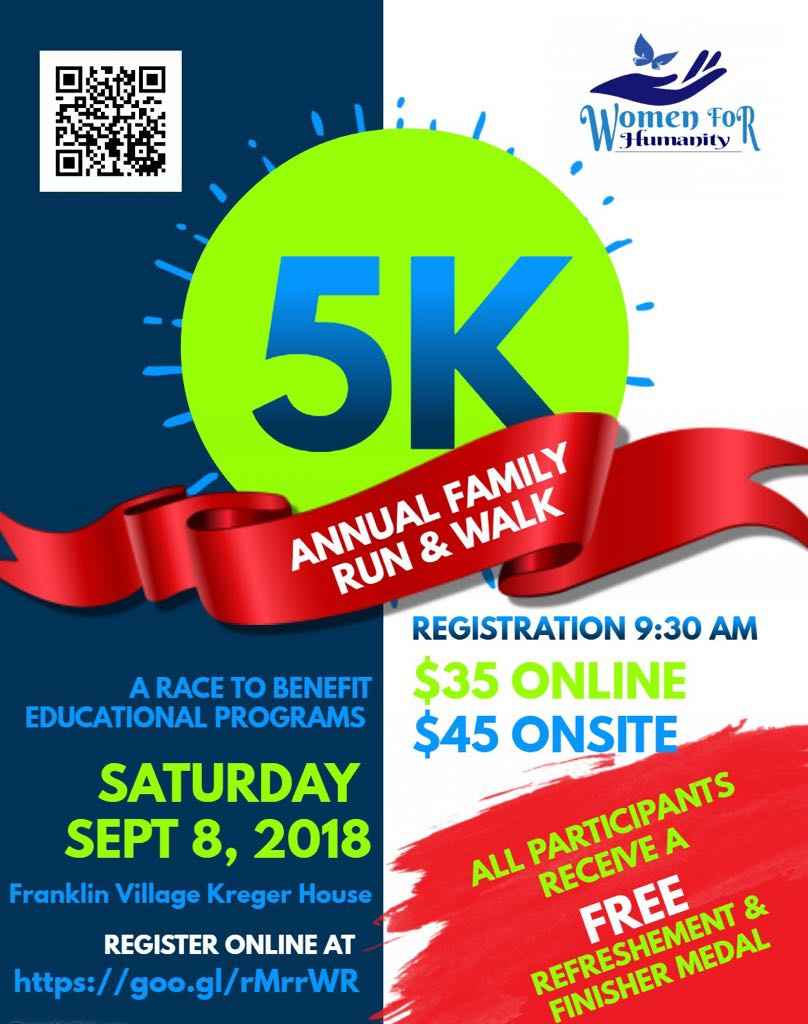Annual 5 K/Walk Saturday Sep. 8th, 2018