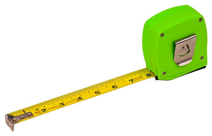 Image of a bright green tape measure with a silver clip on the back. The tape itself is pulled out to 8 inches.