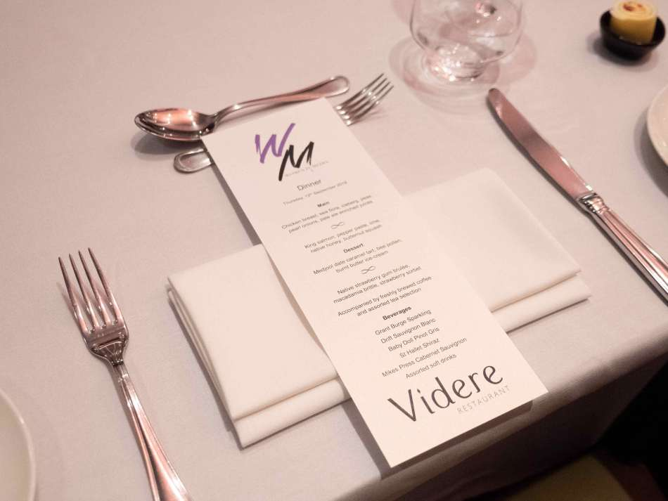 The menu for the RACV Royal Pines Resort dinner. Yum! Photo: Monique Grisanti | Uneek Creative