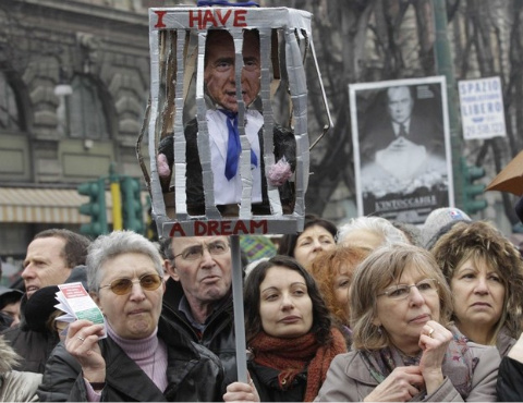 (Women Protest as) Berlusconi To Stand Trial In Prostitution Case