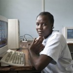 Woman at computer in Tanzania
