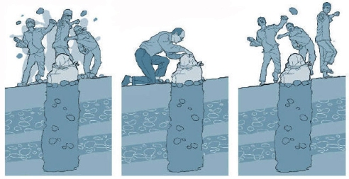 Graphic illustration of stoning Iran