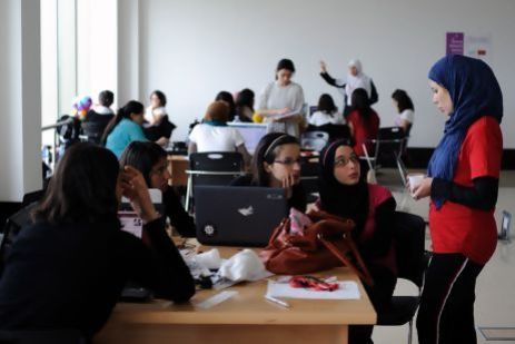 Young women work on projects as part of a 'Women's Start-up Weekend' at Algeria 2.0, an event designed to encourage entrepreneurship. Image: Lindsay Mackenzie/The National