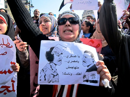 Women protest in Cairo in the January 2012 revolution