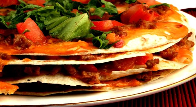 4 layer soft taco Mexican pizza
