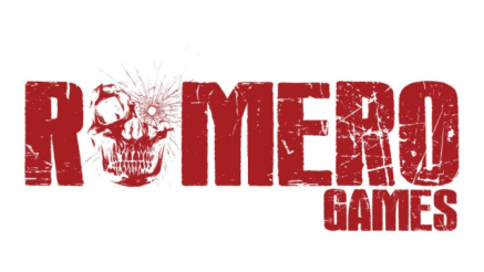 "Romero Games logo, where the first ""O"" has been replaced by a skull."