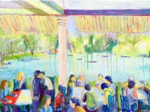 """""""Lakeside Restaurant,"""" Oil on Linen, 24""""x18"""""""