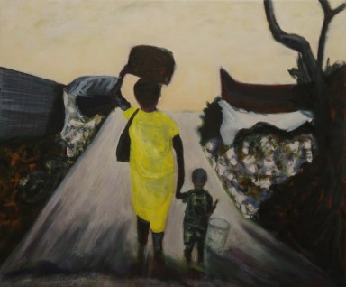 """Mother and Son Refugees Walking Off,"" Oil on Linen, 24""x20"""