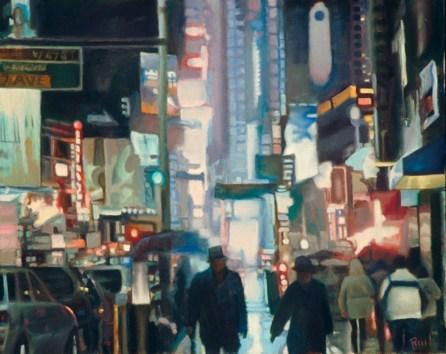 """Broadway Lights,"" Oil on Linen, 30""x36"""