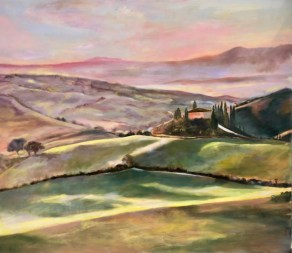 """Renee Baley, """"Tuscany 3,"""" 2Oil on Linen, 8""""x32"""" - SOLD"""