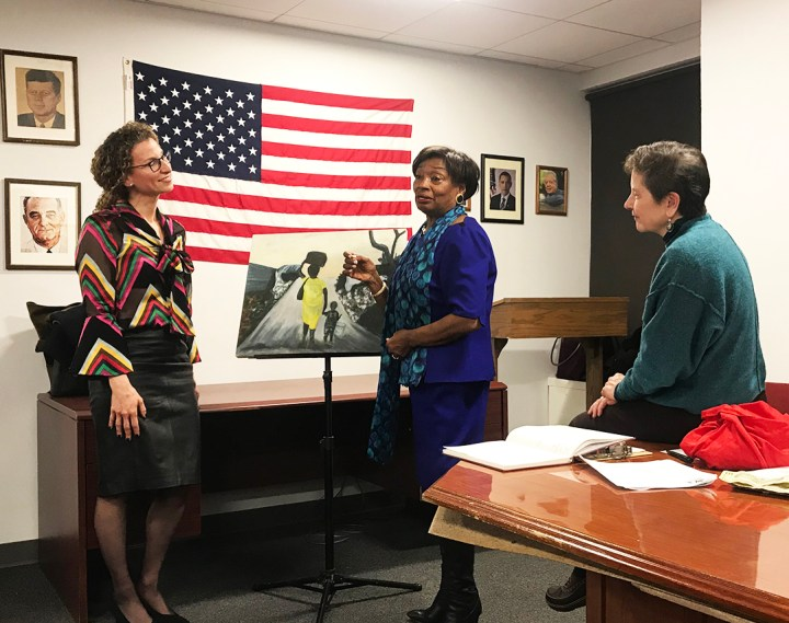 "Last night, the Hispanic Democratic Committee of Westchester presented a painting by Women's Art Power member Melissa Noah entitled, ""Mother and Son Refugees Walk Off,"" to New York State Senator Andrea Stewart Cousins."