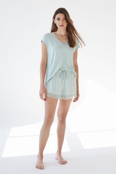 Womensecret Pijama corto manga corta punto súper soft verde verde