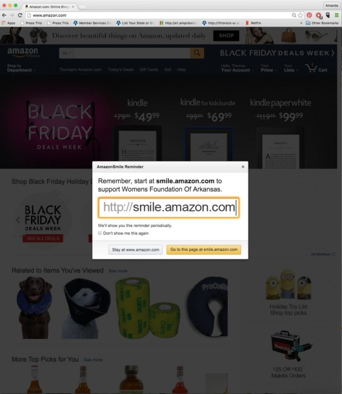 AmazonSmile is a simple and automatic way for you to support your favorite charitable organization every time you shop, at no cost to you. When you shop at smile.amazon.com, you'll find the exact prices and selection as Amazon.com, with the added bonus that Amazon will donate a portion of the purchase price to your favorite charitable organization.