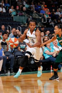 Epiphanny Prince takes the ball up court on a fast break. Photo courtesy of MSG photo services.