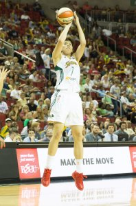 Japan National Team member Ramu Tokashiki played a vital role for the Storm in her rookie season. Photo by Neil Enns/Seattle Storm.