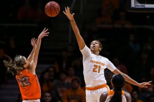 KNOXVILLE,TN - Mercedes Russell blocks a shot. Photo courtesy of Tennessee Athletics.