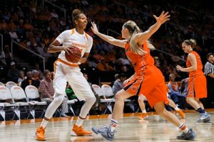 Mercedes Russell looks to pass during Monday's exhibition against Carson-Newman. Photo courtesy of Tennessee Athletics.