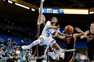 Jordin Canada puts up 2 of her 24 points against Oregon State. Photo by Percy Anderson.