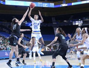 Monique Billings takes flight in the first half. Photo by Benita West/T.G.Sportstv1