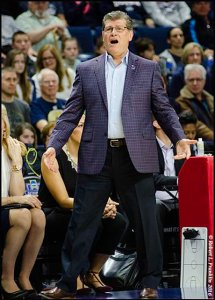 UConn Coach Geno Auriemma reacts to an unbelievable shot by Husky All American Breanna Stewart. Photo by Robert L. Franklin.