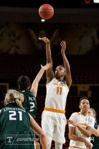 Diamond DeShields puts up two of her 14 points against Green Bay Friday. Photo courtesy of UT Athletics.