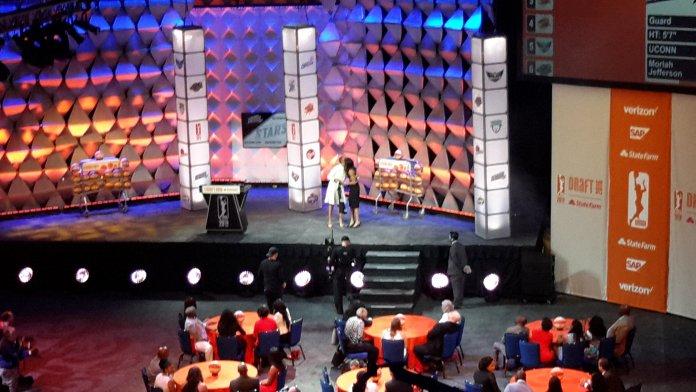 Lisa Borders congratulates Moriah Jefferson. Photo by Rebecca Rider.