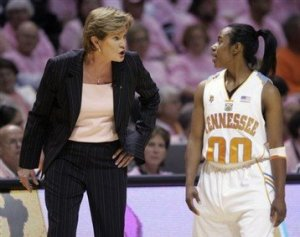 Tennessee coach Pat Summitt talks with Shannon Bobbitt after she had a technical foul called against her during the second half of a college basketball game against Rutgers on Monday, Feb. 11, 2008 in Knoxville, Tenn. Tennessee won 59-58. AP Photo/Wade Payne.