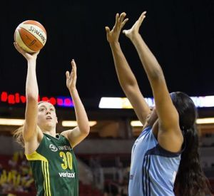 Breanna Stewart shoots and makes her last bucket of the night, for a career-high 38 points. Photo by Neil Enns/Storm Photos.
