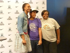 Tamika Catchings took time to talk with fans and take pictures. Photo by Sue Favor.