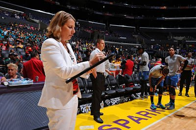 Cheryl Reeve draws up a play before the game in Los Angeles two months ago. Photo by Juan Ocampo/NBAE via Getty Images.