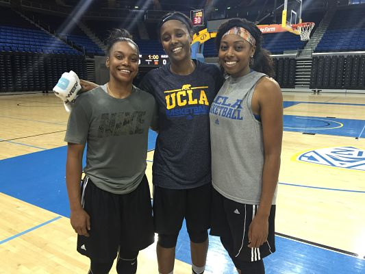 Former UCLA stand outs Darxia Morris, Noelle Quinn and Antonye Nyingifa after practicing with the current Bruin squad earlier this week. Photo courtesy of UCLA Athletics.
