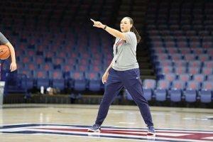 Head coach Adia Barnes conducts a recent practice at the University of Arizona. Photo courtesy of Arizona Athletics.
