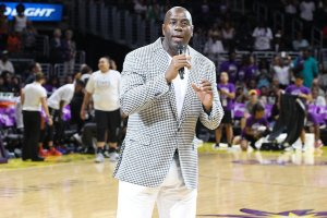Magic Johnson is part of an ownership group that purchased the Los Angeles Sparks in January, 2014. Photo by TGSportstv1.
