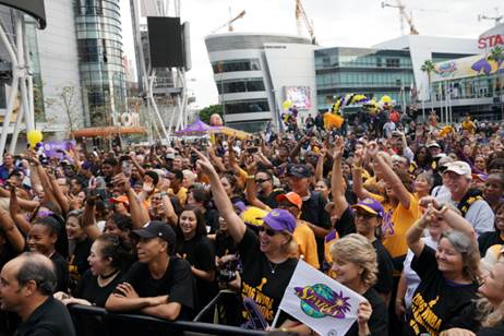 Fans packed the LA Live courtyard, across from the Sparks' home court Staples Center, during the Championship victory celebration. Photo courtesy of LA Sparks.