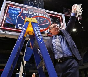 Rick Insell cuts down the nest after Middle Tennessee's C-USA Tournament win last March. Photo by Brent Beerends/MT Athletics.