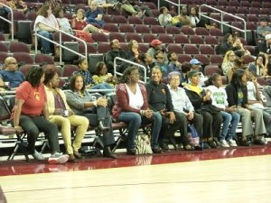 Several former USC players came to support Cheryl Miller and Cynthia Cooper-Dyke. Photo by Sue Favor.